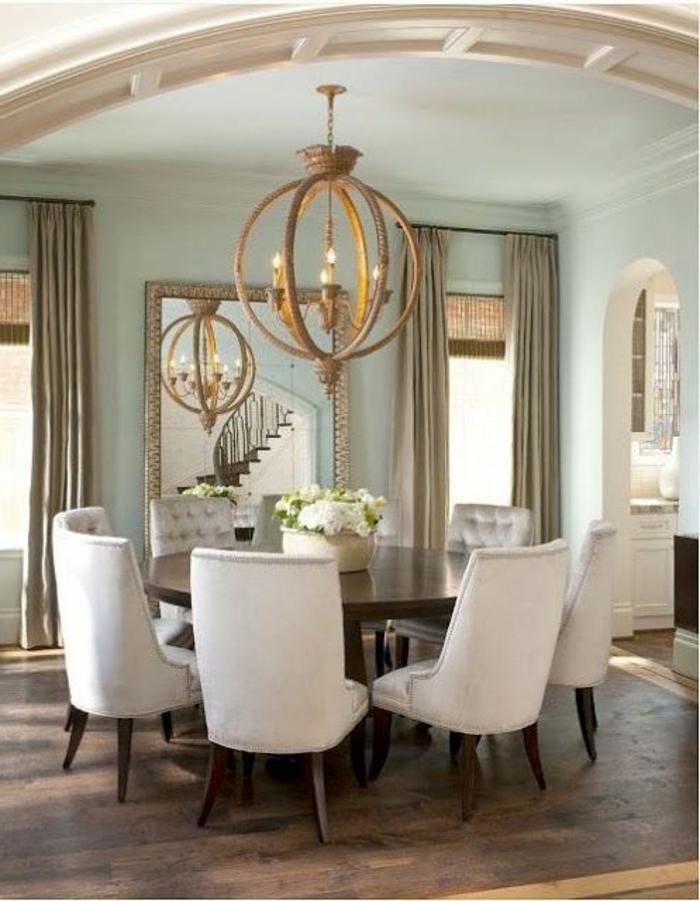 La-cuisine-bleue-moderne-belle-table-à-manger