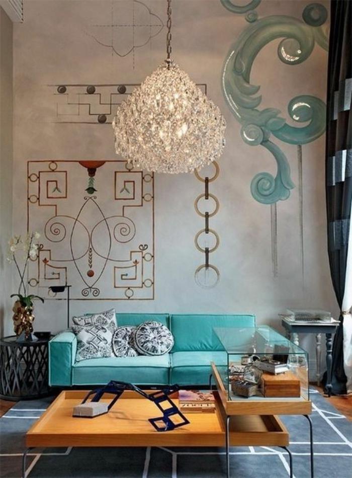 Salle-de-séjour-à-la-couleur-aigue-marine-canapé-confort