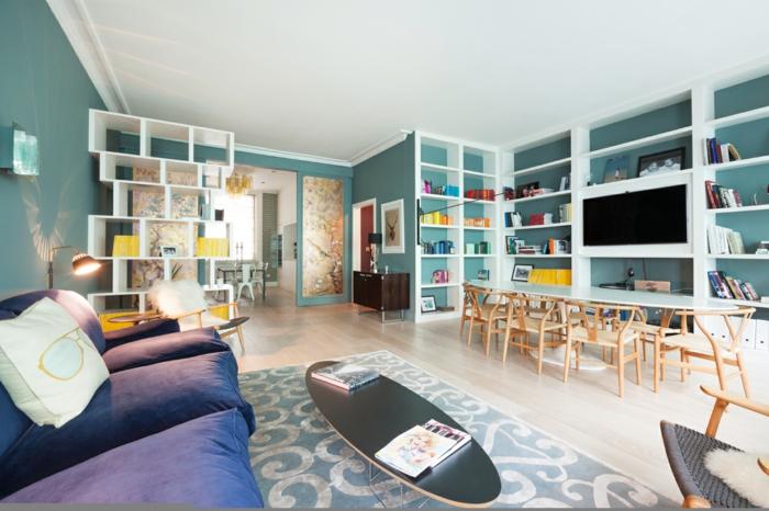 Salle-de-séjour-à-la-couleur-aigue-marine-surf-pour-table