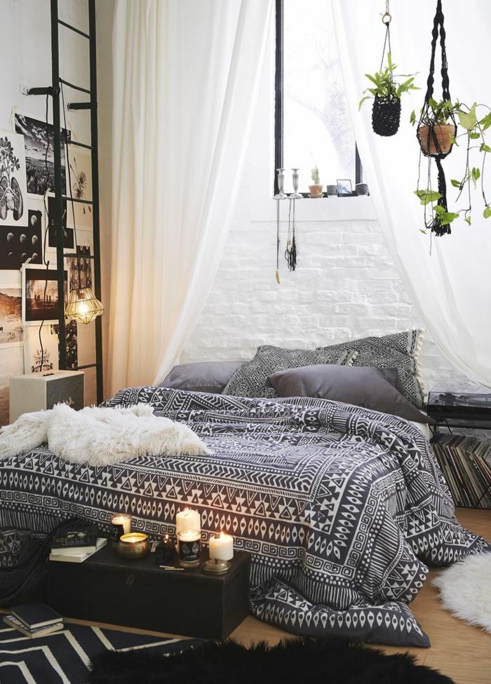 amenagement-chambre-ambiance-romantique-chambre-à-coucher-lit-bougies