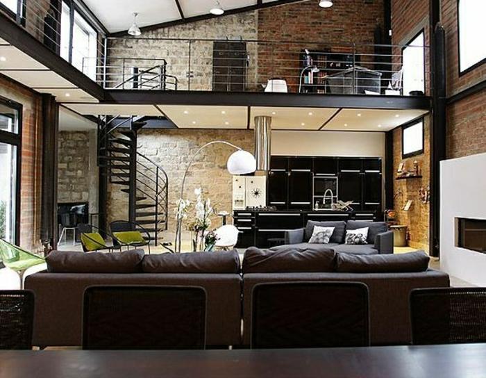 appartement-moderne-intérieur-de-votre-appartement-loft-atypique-canapé-marron