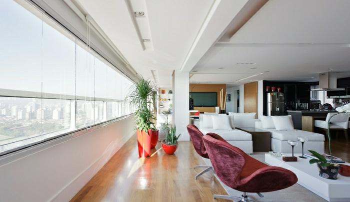 appartement moderne de style insolite, loft atypique, esprit atypique, canapé blanc