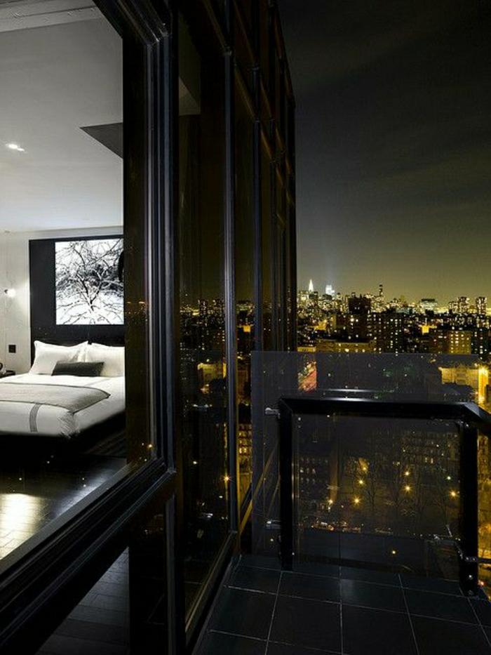 appartement-style-atypique-meubles-atypiques-chambre-a-coucher-blanc-noir-carrelage-noir