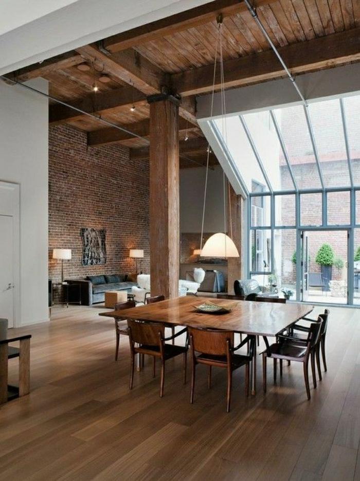 appartement-style-atypique-meubles-atypiques-mur-de-briques-idée-sol-parquet
