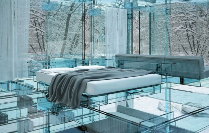 ... contemporain, chambre à coucher transparente, mur et sol en verre