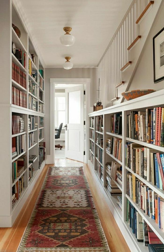 bibliothèque-sous-escalier-en-bois-meubles-sous-escalier-couloir-tapis-etagere-sous-escalier