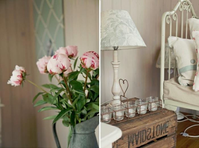 bouquet-de-pivoine-idées-décoration-lit-de-fer