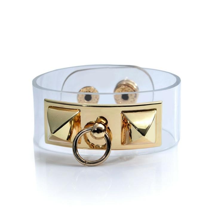 bracelet-manchette-métal-et-pvc