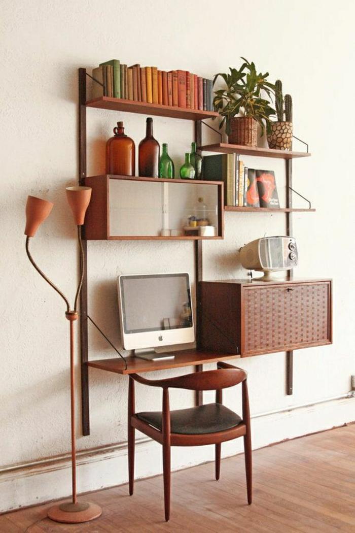 bureau-de-travial-en-bois-suspendu-idée-etagere-en-bois-design-murale-chaise-en-bois
