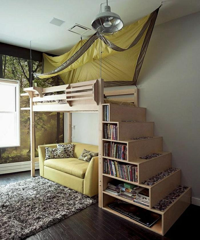 canapé-sous-escalier-aménagement-sous-escalier-sol-en-parquet-rangement-escalier