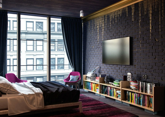 caramel-dorée-chambre-à-coucher-lit-bibliothèque-basse-new-yorkais