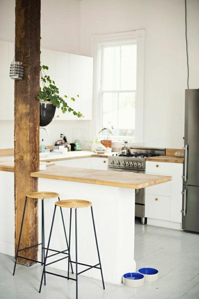 chaise-haute-de-bar-sol-en-lin-gris-bar-de-cuisine-moderne-plante-verte