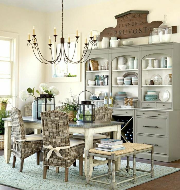 chaise-osier-meubles-de-cuisine-en-rotin-idée-salle-de-séjour-moderne-originale