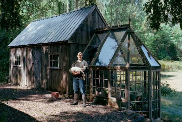 chalet-et-jardin-extérieur-verre-semi-ronde-maison-bois-dans-foret