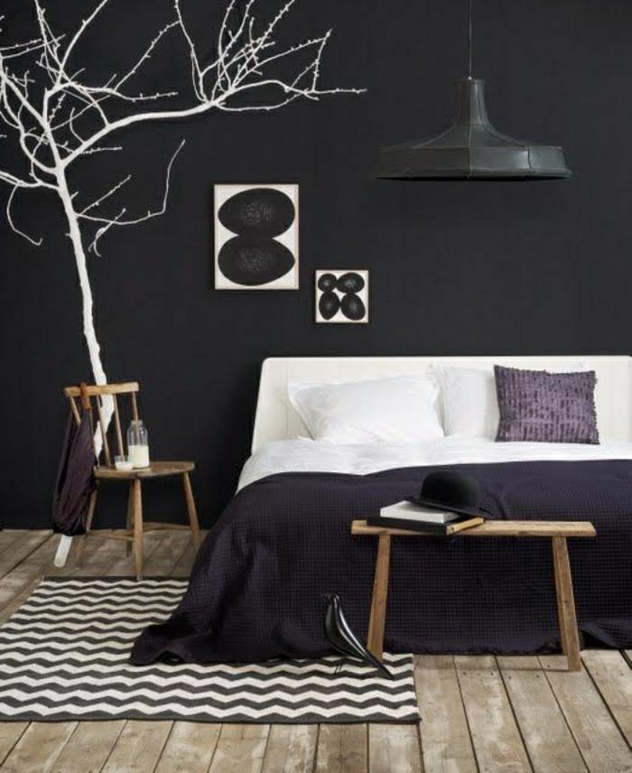 chambre-a-coucher-blanc-noir-arbre-mural-décoraif-tapis-blanc-noir-lit