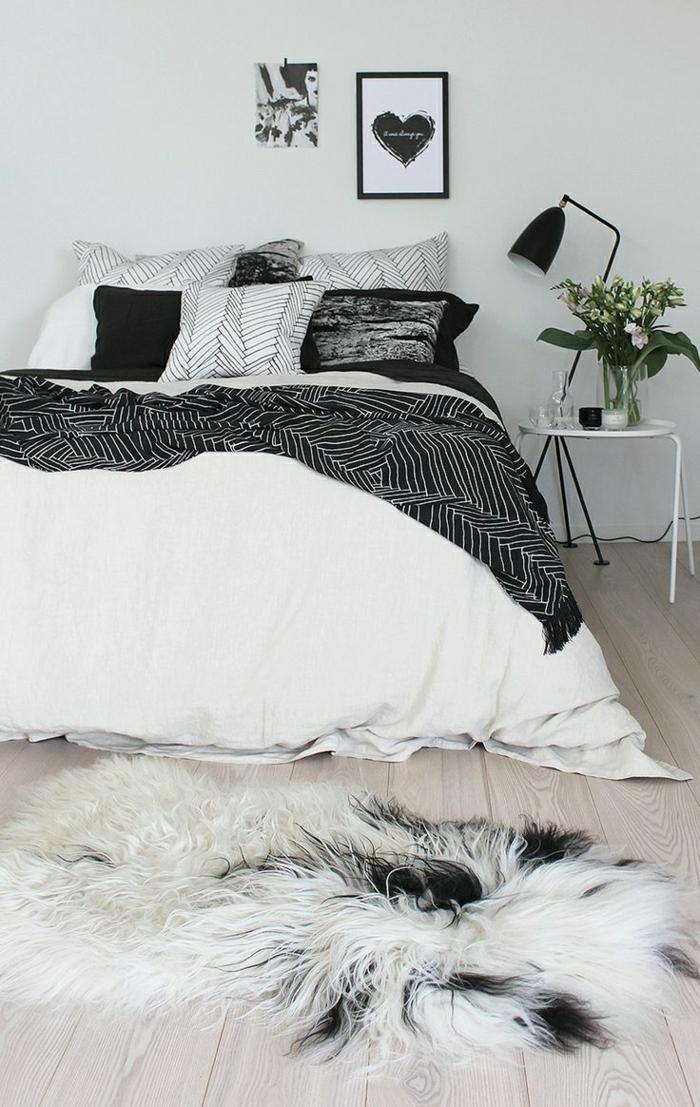 chambre-a-coucher-blanc-noir-descente-de-lit-fausse-fourrure-blanc-noir