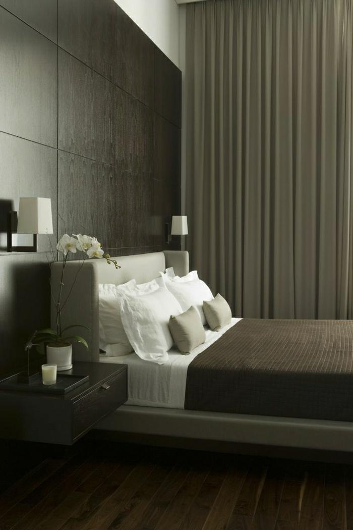 chambre-a-coucher-couleur-taupe-table-de-chevet-taupe-en-bois-fleurs-chambre-a-coucher