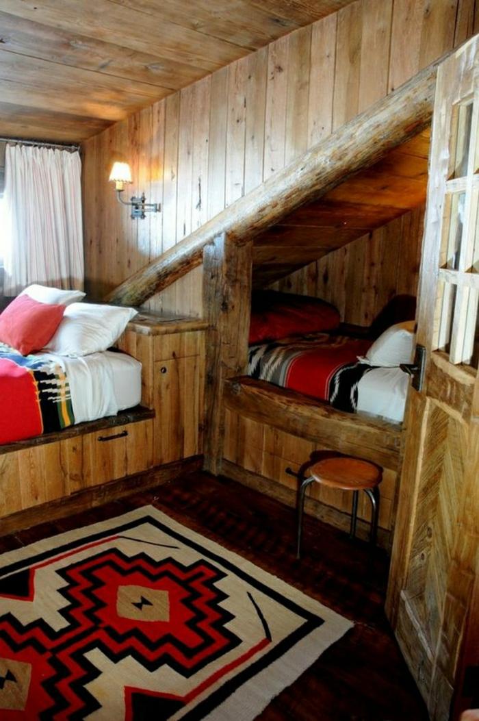 chambre-a-coucher-de-style-rustique-en-bois-lit-en-bois-massif-petite-fenetre