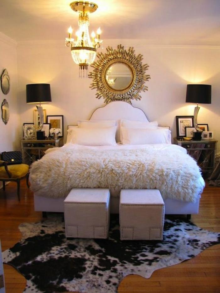 chambre-a-coucher-intérieur-élégant-de-luxe-tapis-en-peau-de-vache-parquet