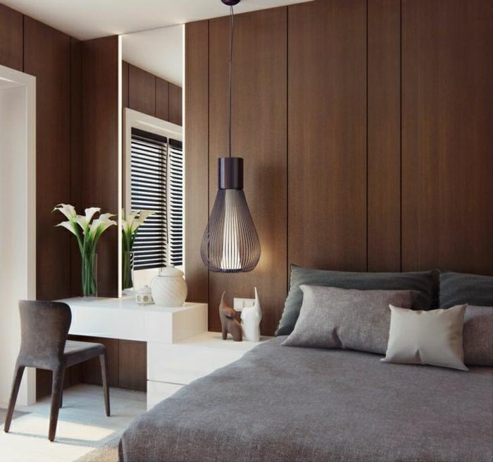 chambre-a-coucher-taupe-table-de-chevet-gris-taupe-mur-taupe-fleurs-meuble-blanc