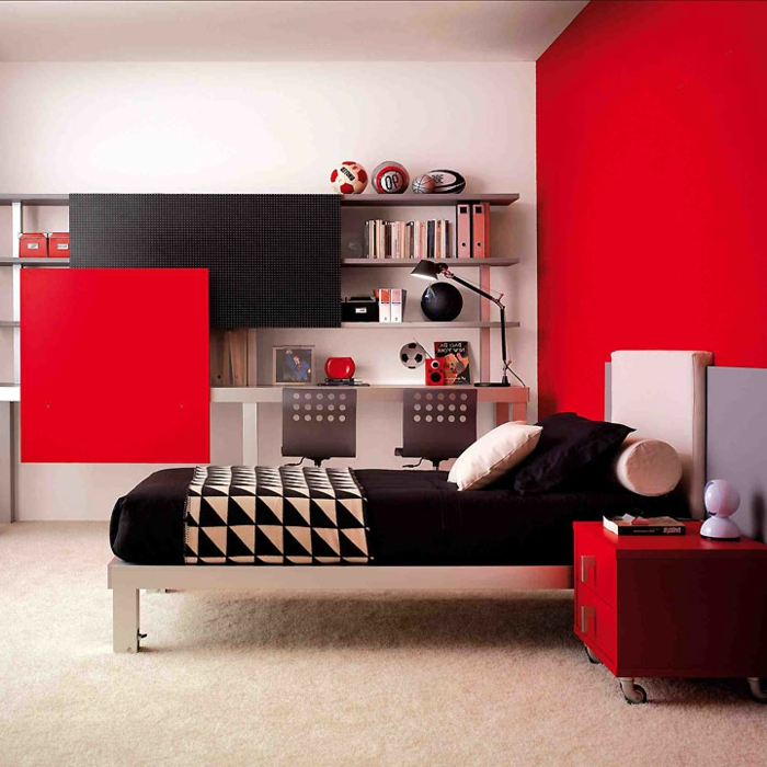 chambre ado fille rouge et noir. Black Bedroom Furniture Sets. Home Design Ideas