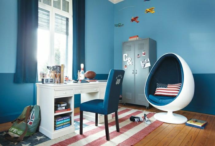 chambre-de-fille-ado-idée-déco-bleu-amerique