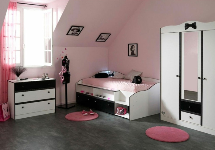 chambre ado fille moderne violet avec des. Black Bedroom Furniture Sets. Home Design Ideas