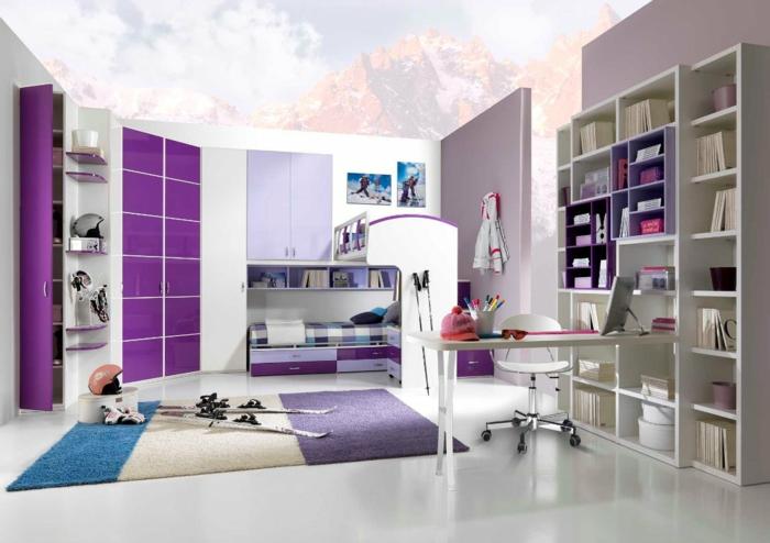 chambre-de-fille-violet-ski-tapis-lit-armoire