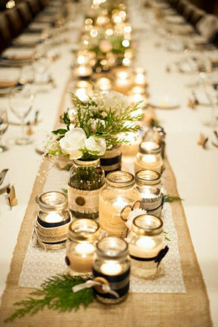 chemin-de-table-mariage-idée-nappe-de-mariage-blanche-beige-centre-de-table