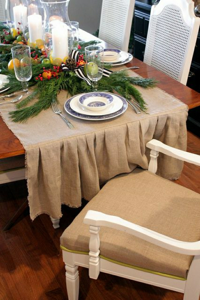 chemins-de-table-lin-beige-table-élégante-set-de-table-décoration-verte-pour-la-table
