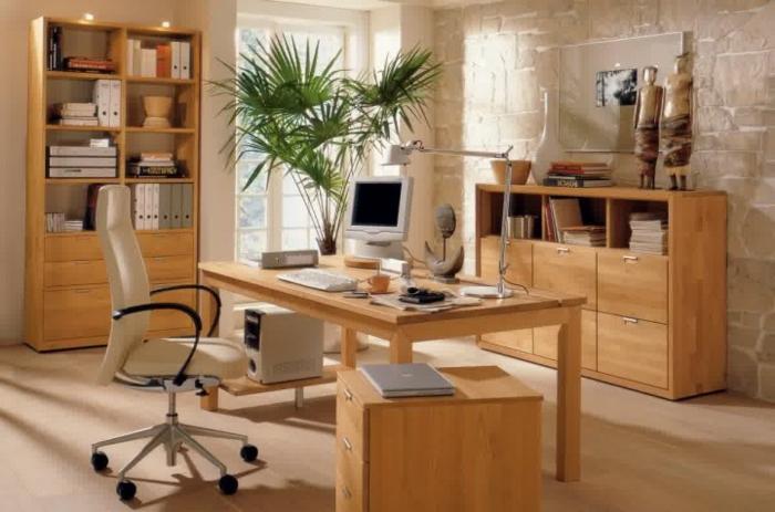 coin-de-travail-en-bois-massif-meuble-en-chene-clair-bibliothèque-en-bois-massif