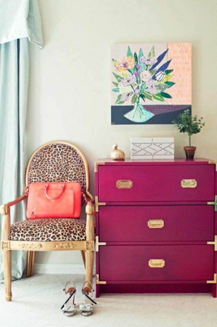 console-bois-rose-chaise-d-entré-ikea-meuble-chaussure-rose-peinture-dans-l-entrée