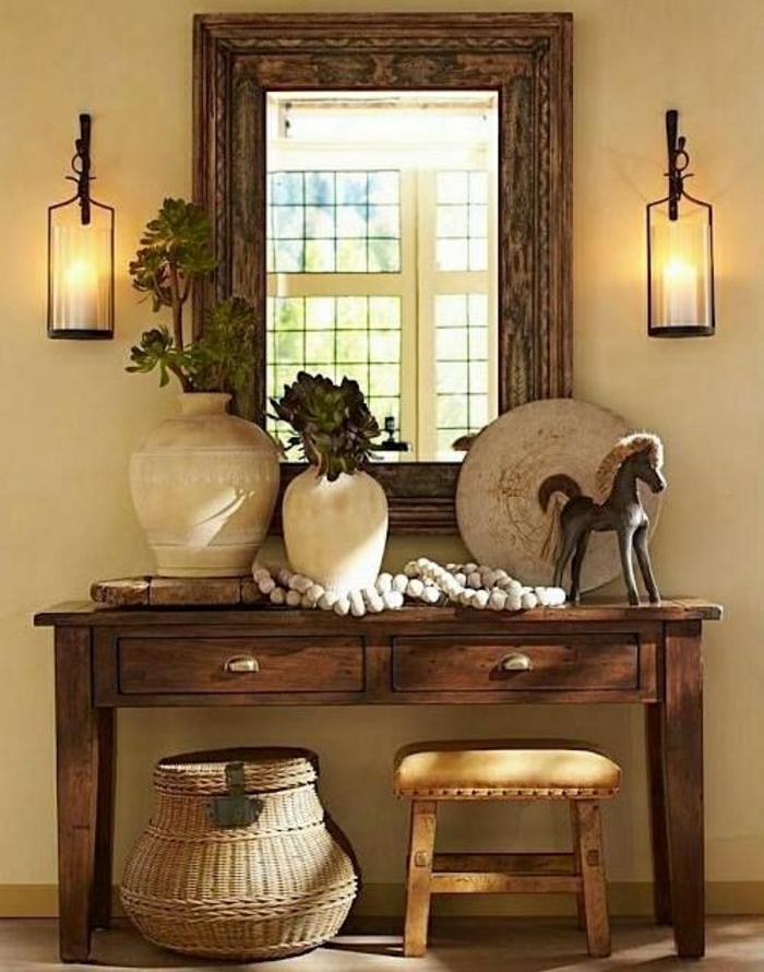 console-d-entrée-de-style-rustique-en-bois-fleurs-miroir-chaise-basse-en-bois