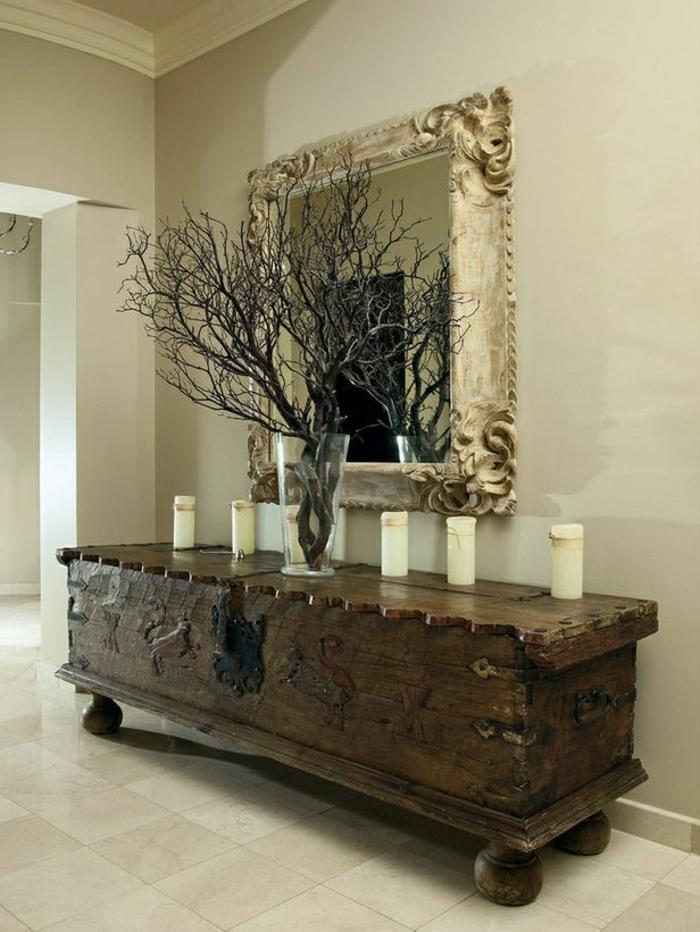 console-d-entrée-meubles-d-entrée-ikea-en-bois-foncé-miroir-décoratif-carrelage-beige