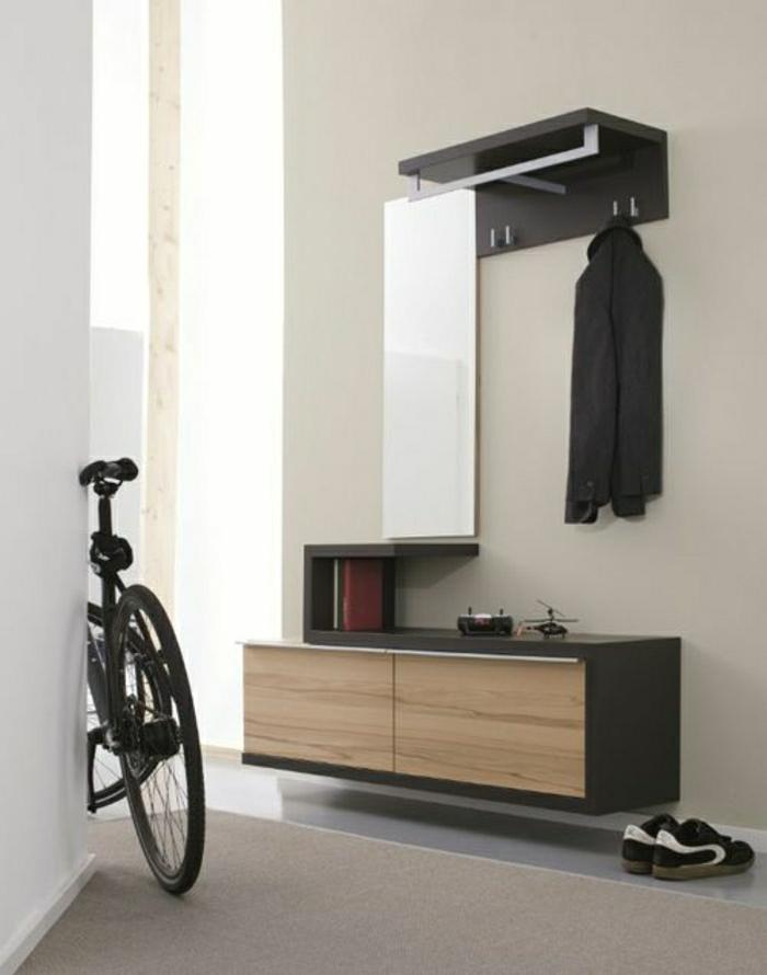 console-design-console-d-entrée-en-bois-vélo-dans-le-couloir-sol-gris-beige