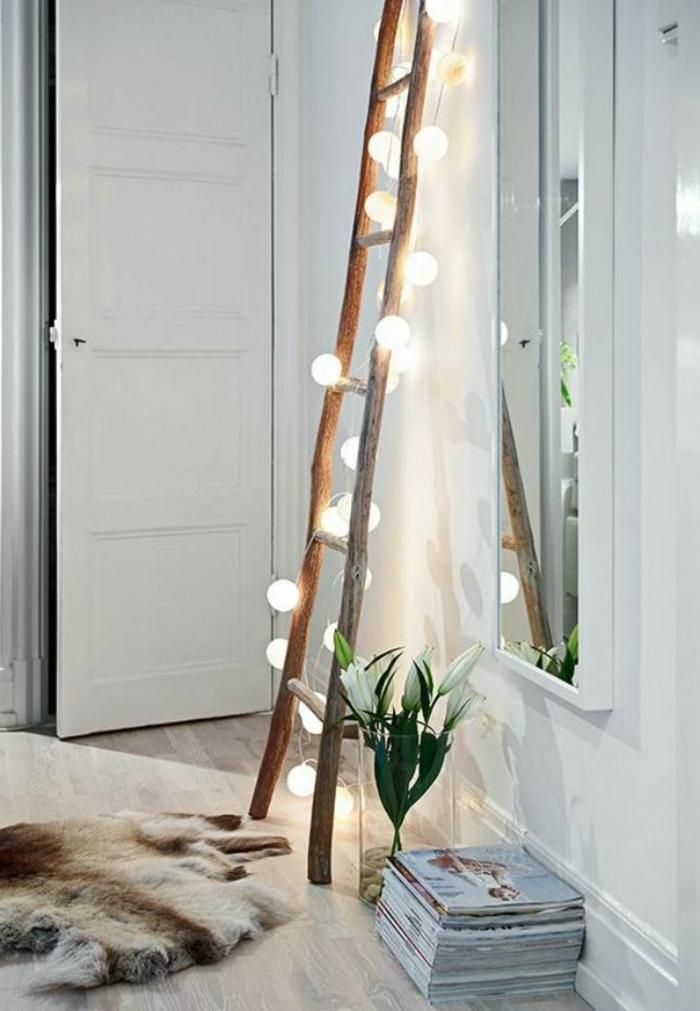 Guirlande Chambre Ado : couleur-chambre-adulte-deco-romantique-echelle-lumière