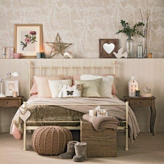 couleur-taupe-mur-taupe-intérieur-déco-chambre-a-coucher-linge-de-lit-chambre-fille