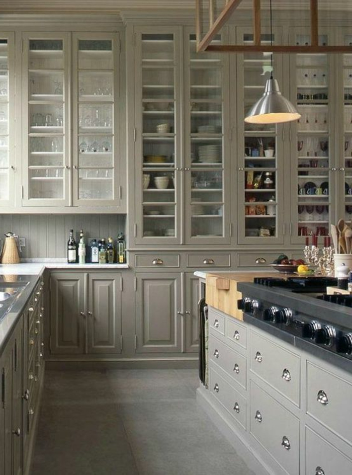 Delightful Cuisine Bois Gris Clair #2: Cuisine-élégante-en-bois-grise-idée-couleur-cuisine-en-bois-modele-ikea1.jpg