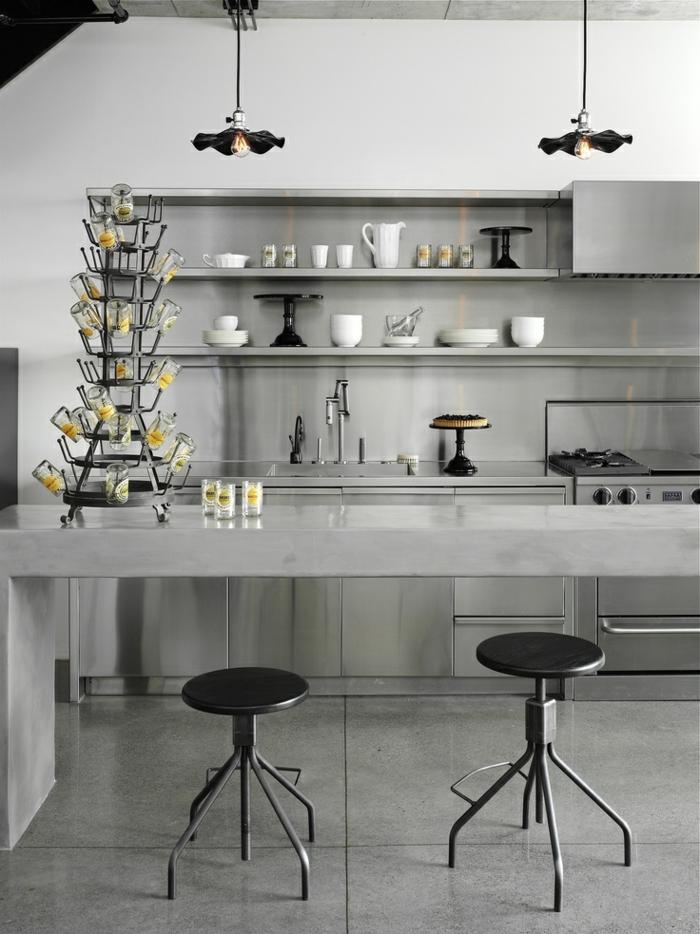 cuisine-de-couleur-gris-meubles-modele-cuisine-ikea-idée-couleur-cuisine-modele-de-cuisine