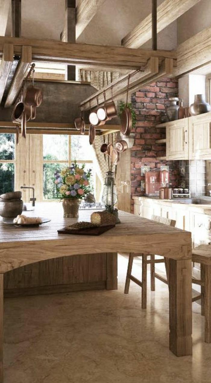 cuisine-en-bois-table-en-bois-mur-de-briques-rouges-fleurs-sur-la-table-bois-massif