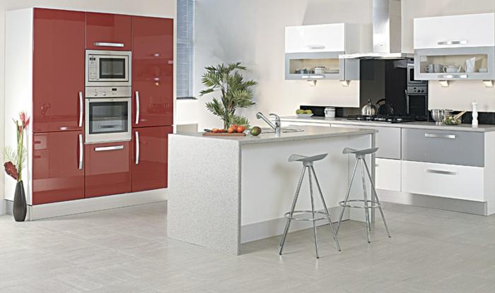 Meuble de cuisine moderne cuisine blanche cuisine for Modele cuisine rouge et gris