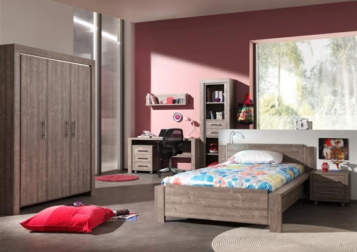 déco-chambre-ado-fille-pièce-armoire-lit-bois