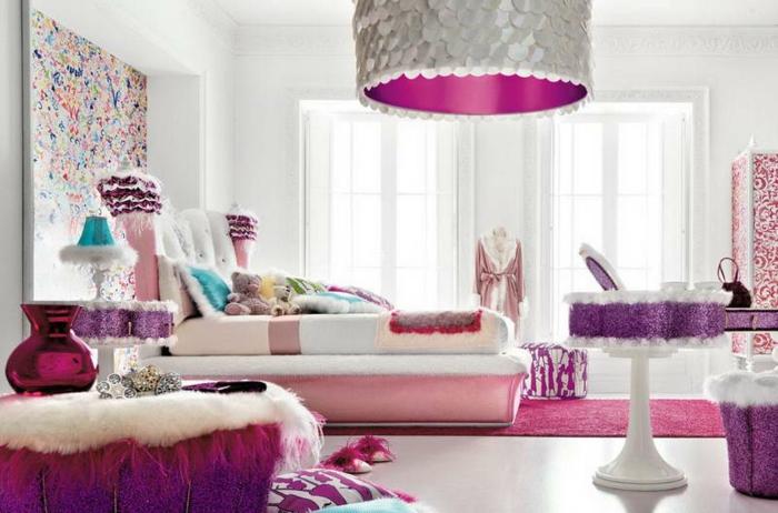 décoration-chambre-ado-fille-rose-lustre-originale