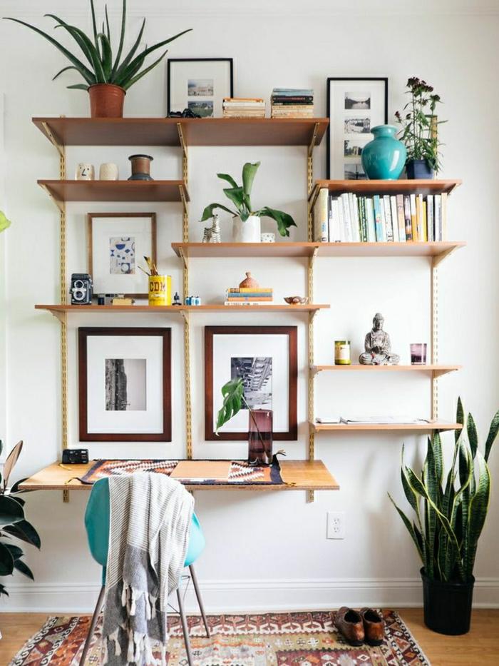 design-étagère-en-bois-murale-plantes-vertes-décoration-murale-bureau-de-travail-en-bois