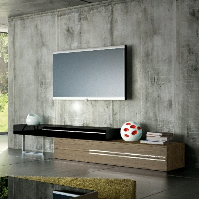 design-salon-meuble-tv-led-salon-vaste-carrelage-gris-tapis-vert-mur-en-verre