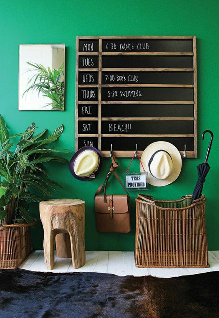 entrée-original-idée-pour-aménagement-mur-vert-plantesvertes-meubles-d-entree