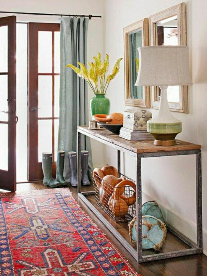 entrée-original-idée-pour-aménagement-tapis-rouge-console-d-entrée-meuble-d-entree-design
