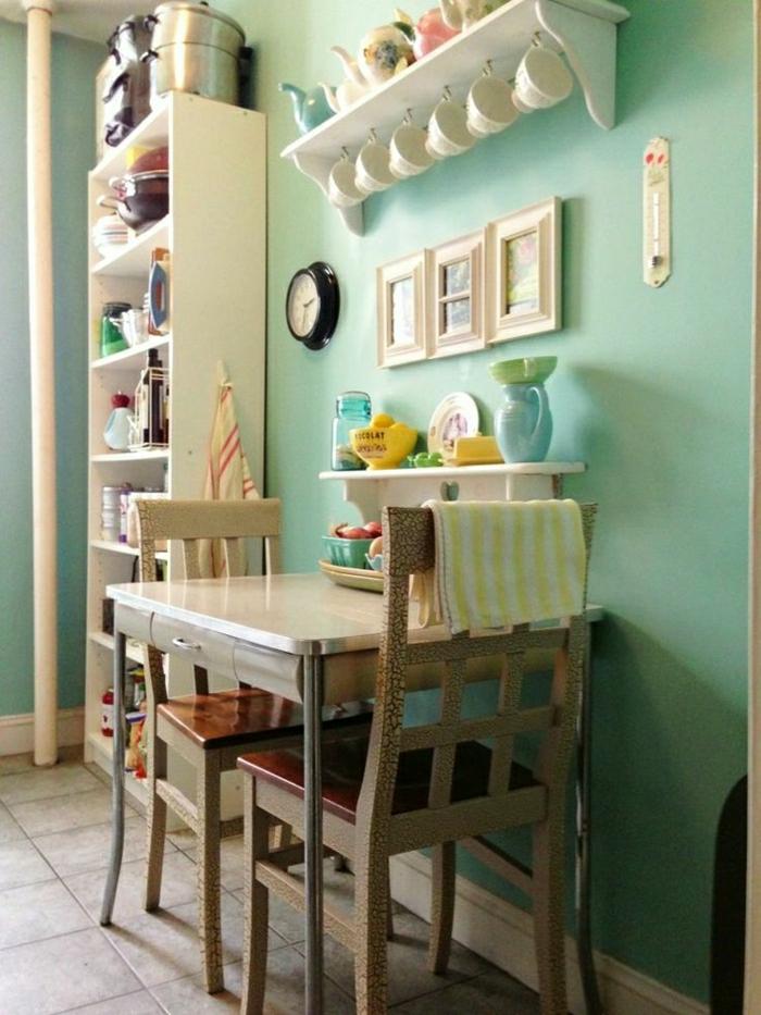 etagere en bois blanc carrelage sol cuisine moderne - Etagere Cuisine Moderne