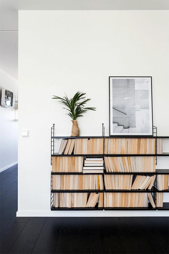 etagere-murale-en-fer-forgé-noir-plante-verte-sol-parquet-noir-decoration-murale