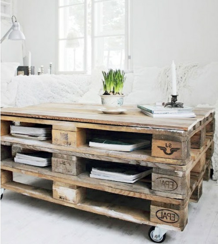 faire une table basse avec une palette en bois. Black Bedroom Furniture Sets. Home Design Ideas